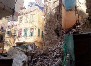 انهيار عقارين بحي الجمرك في الإسكندرية