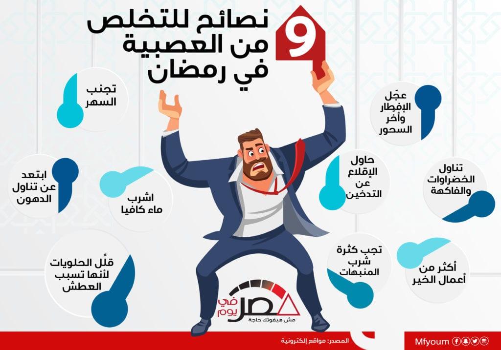 9 نصائح للتخلص من العصبية في رمضان (إنفوجراف)