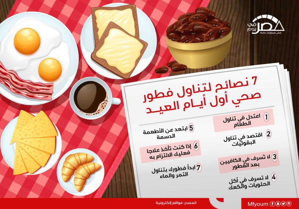 7 نصائح لتناول فطور صحي أول أيام العيد (إنفوجراف)