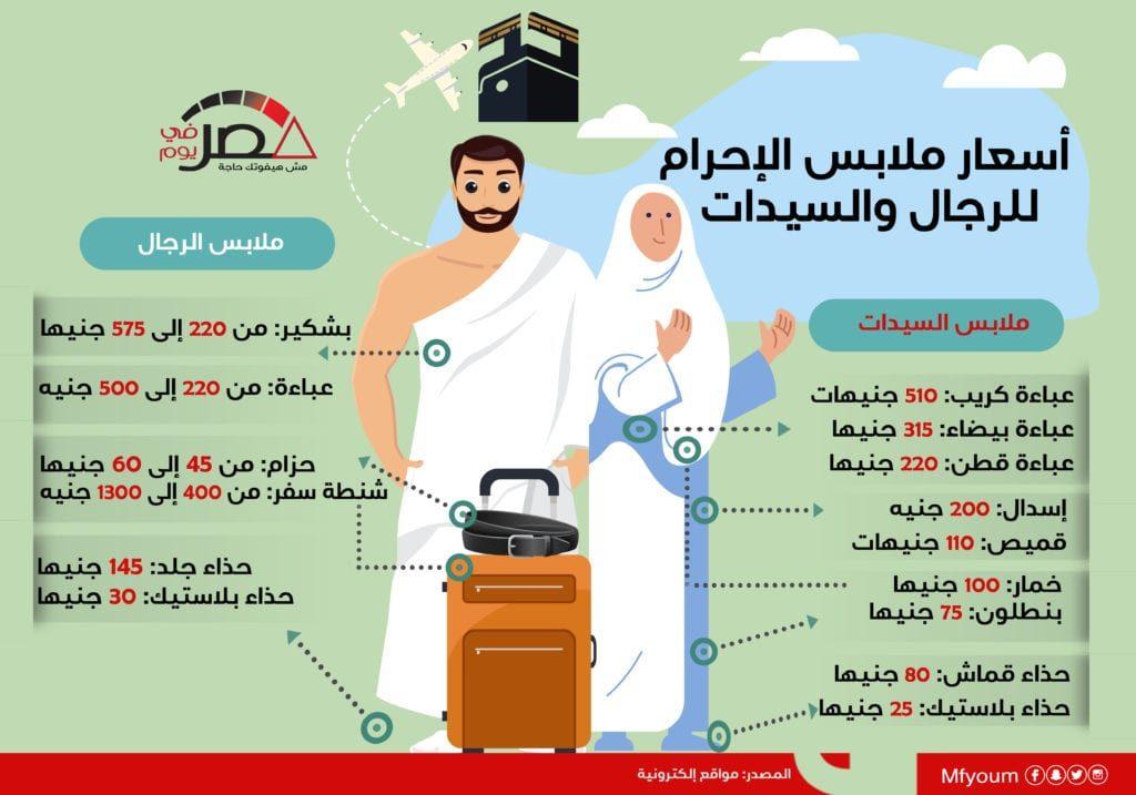 أسعار ملابس الإحرام للرجال والنساء (إنفوجراف)