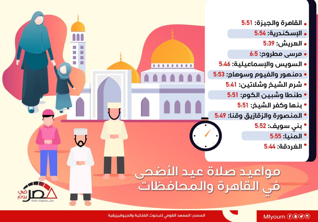 مواعيد صلاة عيد الأضحى في القاهرة والمحافظات (إنفوجراف)