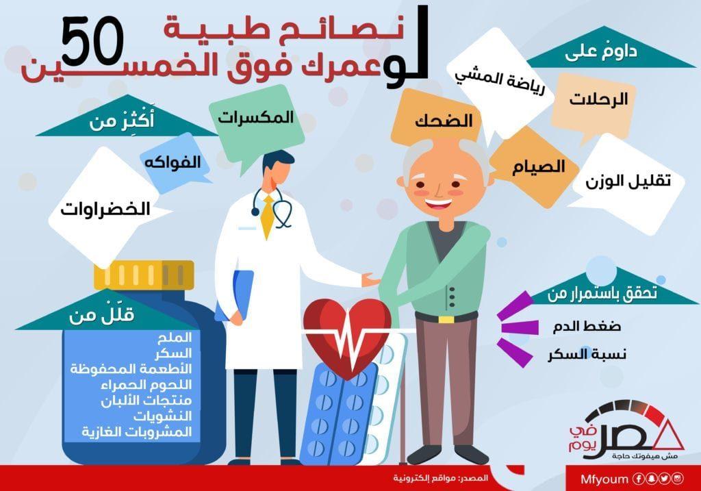 نصائح طبية لو عمرك فوق الخمسين (إنفوجراف)