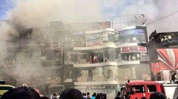 حريق هائل في منطقة وكالة البلح: 13 سيارة إطفاء