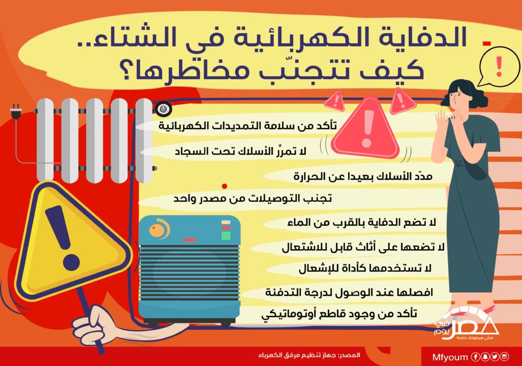 الدفاية الكهربائية في الشتاء.. كيف تتجنب مخاطرها؟ (إنفوجراف)