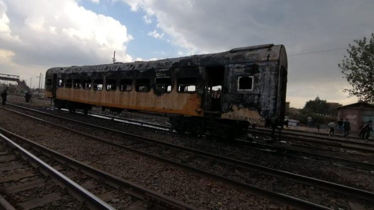 حريق يلتهم عربة قطار بمحطة كفر الزيات: فزع بين الركاب