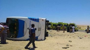 مصرع 4 في انقلاب سيارة ببورسعيد وإصابة 37 طالبا على طريق سفاجا