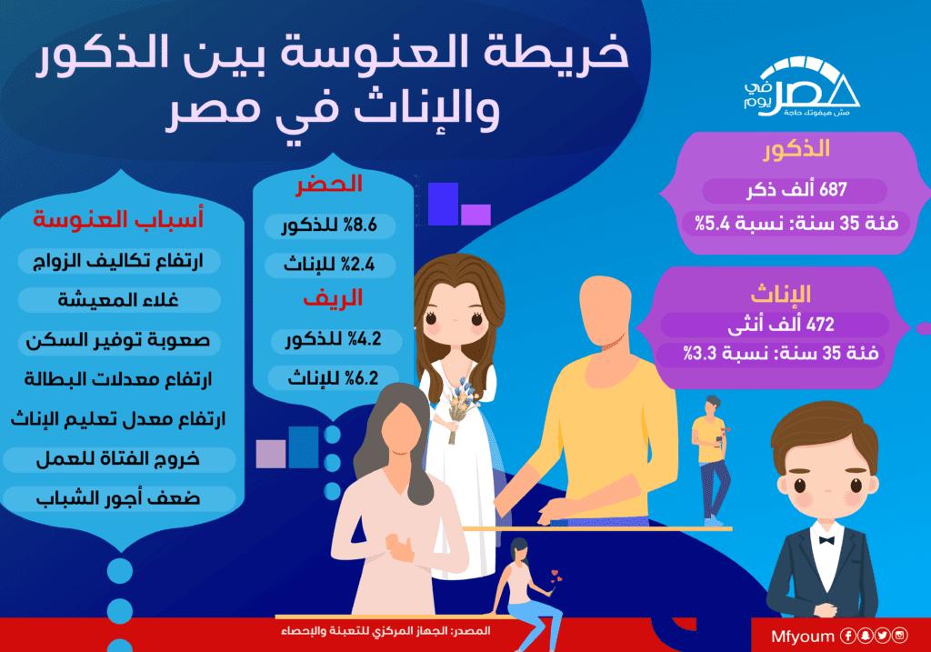 خريطة العنوسة بين الذكور والإناث في مصر (إنفوجراف)