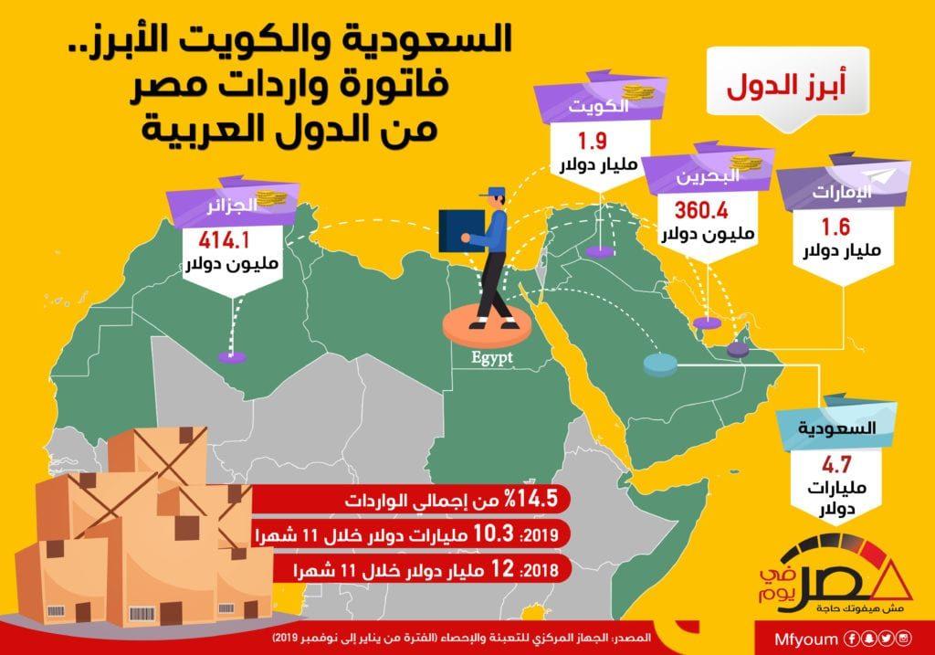 السعودية والكويت الأبرز.. فاتورة واردات مصر من الدول العربية (إنفوجراف)